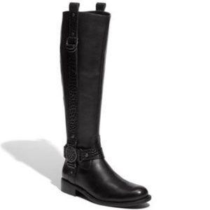 Vince Camuto Fantastic Riding Boot Croc Black 6.5